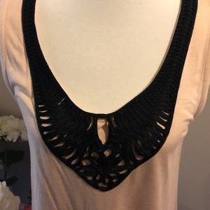 H&M Tops - Pink w Black lace detail tunic